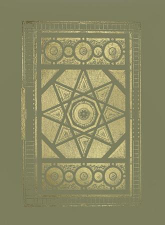 Gold Foil Garden Plan II on Mid Green by J.F. Blondel