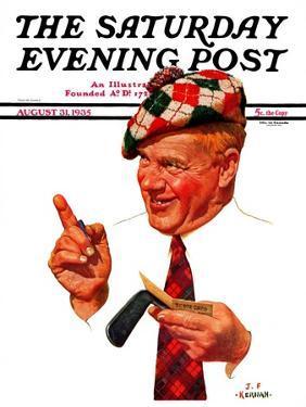 """Argyle Golfer,"" Saturday Evening Post Cover, August 31, 1935 by J.F. Kernan"