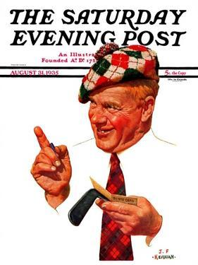 """Argyle Golfer,"" Saturday Evening Post Cover, August 31, 1935 by J.F. Kernan"