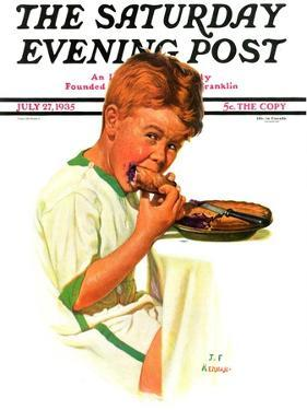 """""""Blueberry Pie,"""" Saturday Evening Post Cover, July 27, 1935 by J.F. Kernan"""