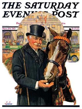 """""""Coachman and Horse,"""" Saturday Evening Post Cover, November 29, 1930 by J.F. Kernan"""