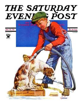 """Dog Bath,"" Saturday Evening Post Cover, January 13, 1934 by J.F. Kernan"