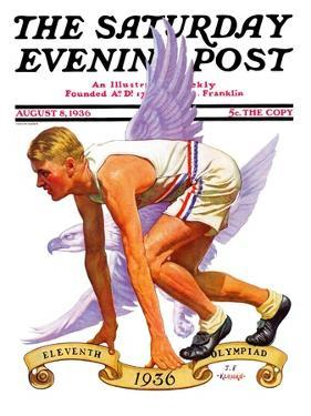 """""""Eleventh Olympiad,"""" Saturday Evening Post Cover, August 8, 1936 by J.F. Kernan"""