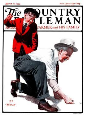 """""""Grandpa Goes Knuckles Down,"""" Country Gentleman Cover, March 10, 1923 by J.F. Kernan"""