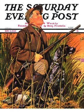 """Hunter and Dog in Field,"" Saturday Evening Post Cover, November 9, 1935 by J.F. Kernan"
