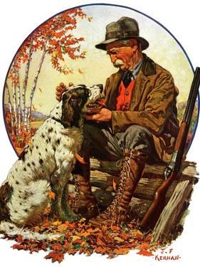 """Hunter and Spaniel,""November 3, 1928 by J.F. Kernan"