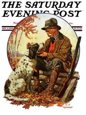 """Hunter and Spaniel,"" Saturday Evening Post Cover, November 3, 1928 by J.F. Kernan"