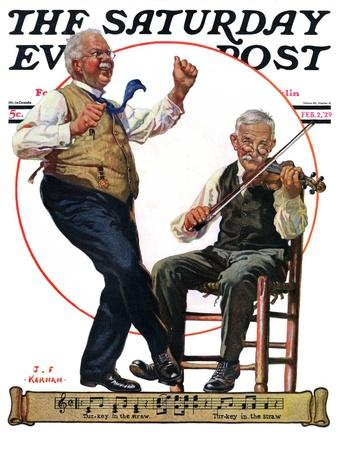 """""""Jig to a Fiddle,"""" Saturday Evening Post Cover, February 2, 1929"""