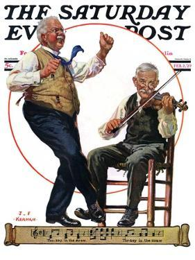 """""""Jig to a Fiddle,"""" Saturday Evening Post Cover, February 2, 1929 by J.F. Kernan"""