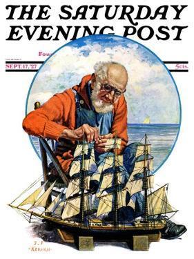 """Model Three Masted Ship,"" Saturday Evening Post Cover, September 17, 1927 by J.F. Kernan"