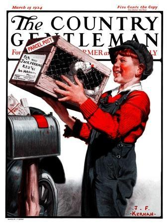 """""""Puppy by Parcel Post,"""" Country Gentleman Cover, March 15, 1924"""
