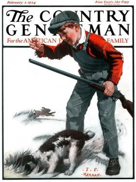 """Rabbit Hunting,"" Country Gentleman Cover, February 2, 1924 by J.F. Kernan"