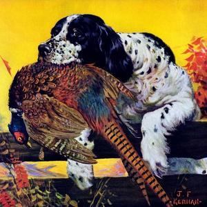 """Retriever with Pheasant,""November 1, 1934 by J^F^ Kernan"
