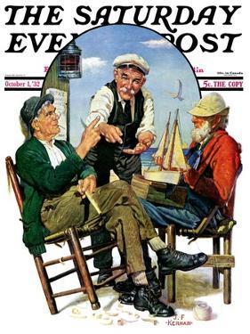 """Three Old Salts,"" Saturday Evening Post Cover, October 1, 1932 by J.F. Kernan"