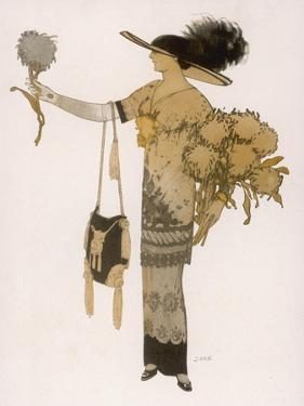 Silhouette of 1911: High Waisted Tunic Dress with Hobble Skirt and a V-Necked Corsage by J. Gose