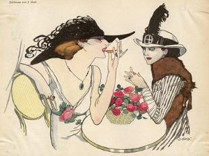 Two Ladies Drinking 1930S by J. Gose