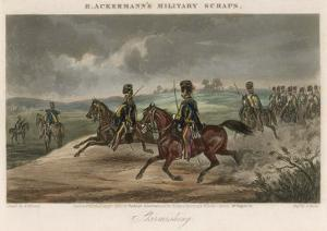 British Cavalry Regiment Involved in a Skirmish in Open Country by J. Harris