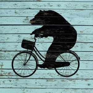 Bear on Bike on Old Board by J Hovenstine Studios