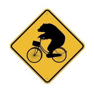 Bears on Bikes Crossing Sign by J Hovenstine Studios