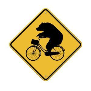 Bears on Bikes Crossing Sign by J Hovenstine Studios