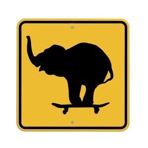 Elephant on Skateboard Crossing Sign by J Hovenstine Studios