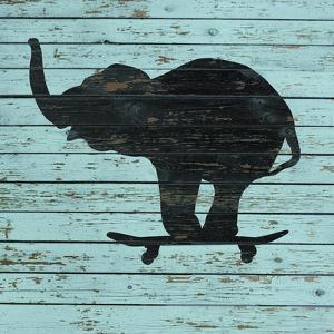 Elephant on Skateboard on Old Board by J Hovenstine Studios