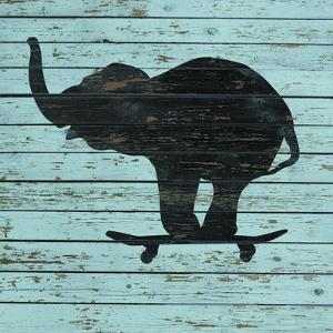 Elephant on Skateboard on Old Board by J Hovenstine Studios