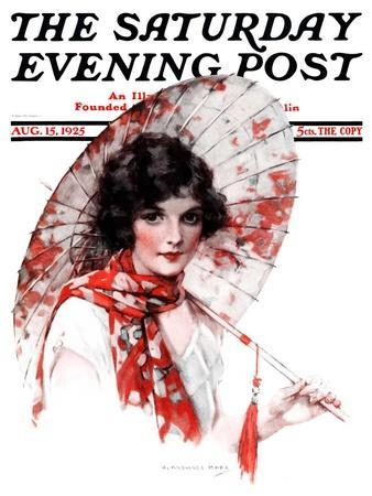 """""""Japanese Parasol,"""" Saturday Evening Post Cover, August 15, 1925"""