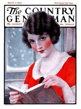 """""""Woman Reading Book,"""" Country Gentleman Cover, March 21, 1925 by J. Knowles Hare"""