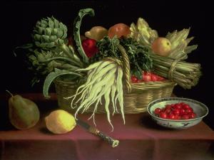 Still Life of Fruit and Vegetables by J. Linnard