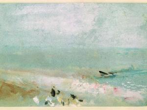 Beach with Figures and a Jetty. C.1830 by J^ M^ W^ Turner