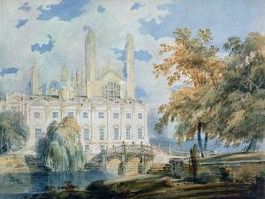Clare Hall and the West End of King's College Chapel, Cambridge, from the Banks of the River Cam by J. M. W. Turner