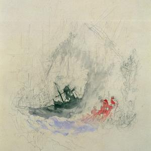 Fire at Sea, a Design for a Vignette, 1835 by J. M. W. Turner
