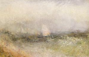 Off the Nore: Wind and Water, 1840-5 (Oil on Paper Laid Down on Canvas) by J. M. W. Turner