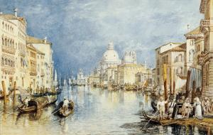 The Grand Canal, Venice, with Gondolas and Figures in the Foreground, circa 1818 by J. M. W. Turner