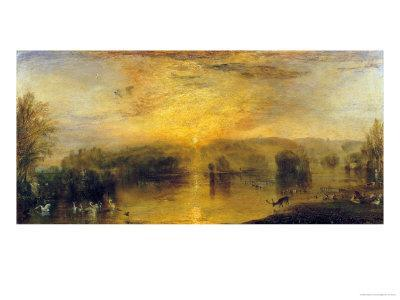 The Lake, Petworth: Sunset, a Stag Drinking, circa 1829