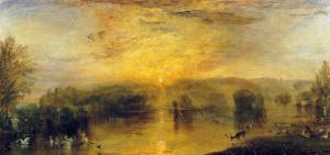 The Lake, Petworth: Sunset, a Stag Drinking, circa 1829 by J^ M^ W^ Turner