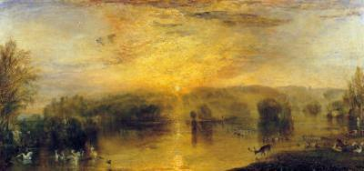 The Lake, Petworth: Sunset, a Stag Drinking, circa 1829 by J. M. W. Turner