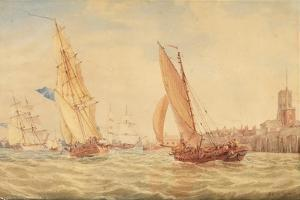Three Sloops of War and a Fishing Smack Going into Habour, Portsmouth, C.1800-30 by J. M. W. Turner