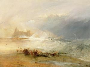 Wreckers - Coast of Northumberland, with a Steam Boat Assisting a Ship Off Shore, 1834 by J. M. W. Turner