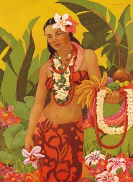 Topless Hawaiian Lei Vendor, Menu Cover, c.1950 by J. Maybra