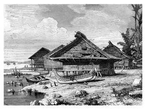 Village on Seram, Indonesia, 19th Century by J Moynet