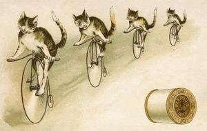 J&P Coats Trade Card with Cats Bicycling