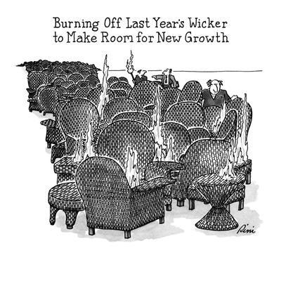 BURNING OFF LAST YEAR'S WICKER TO MAKE ROOM FOR NEW GROWTH - New Yorker Cartoon