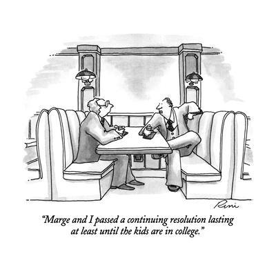 """""""Marge and I passed a continuing resolution lasting at least until the kid?"""" - New Yorker Cartoon"""