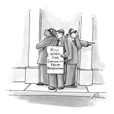 Secret service type men wearing sunglasses standing together looking paran? - New Yorker Cartoon
