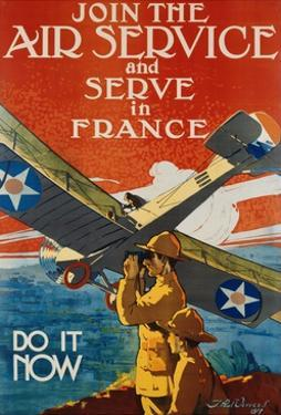 Join the Air Service and Serve in France Recruiting Poster by J. Paul Verrees