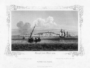Naples from the Sea, 19th Century by J Poppel