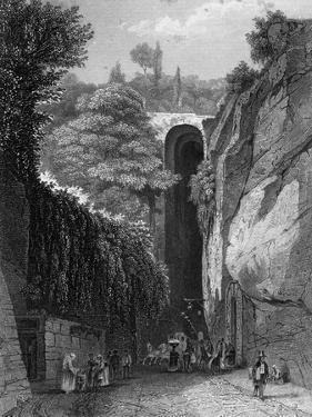 The Grotto of Posillipo Near Naples, Italy, 19th Century by J Poppel