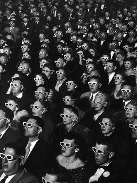 """3-D Movie Viewers during Opening Night of """"Bwana Devil"""" by J^ R^ Eyerman"""